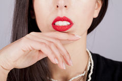 Woman red lips Stock Photo