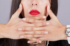Woman red lips Royalty Free Stock Image