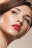 Woman with red lips Royalty Free Stock Images