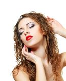 Woman with red lips Royalty Free Stock Photo