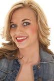 Woman red lips denim jacket smile Stock Photo