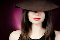 Woman with red lips in hat Royalty Free Stock Photography