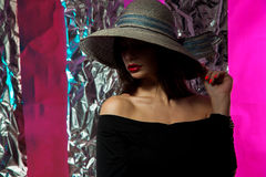 Woman with red lips in hat Royalty Free Stock Photos
