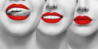 Smiling mouth collage of young girl. Woman with red lips and healthy smile. Collage of beautiful female lips. Healthy smile concept Royalty Free Stock Image