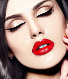 Woman with red lips Stock Images