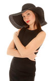 Woman with red lips in little black dress Stock Photography