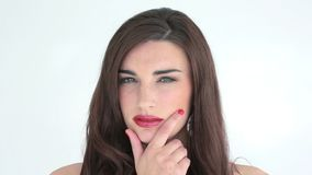 Woman with red lips looking thoughtful stock video footage