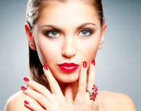 Woman with red lips and manicure Royalty Free Stock Images