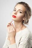 Woman with red lips and perfect skin Royalty Free Stock Images