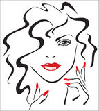 Woman with red lips and red nails. (finger, lady icon Stock Photos
