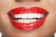 Woman With Red Lips Smiling Royalty Free Stock Image