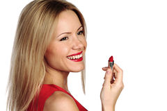 Woman red lipstick Royalty Free Stock Image