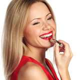 Woman red lipstick Stock Images