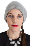 Woman With A Red Lipstick. Looking into the Camera Royalty Free Stock Images