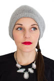 Woman With A Red Lipstick. Looking to the side Royalty Free Stock Image