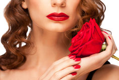 Woman with red lipstick Royalty Free Stock Photography