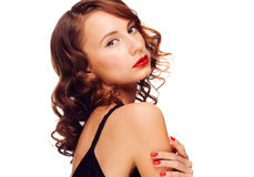 Woman with red lipstick royalty free stock photos