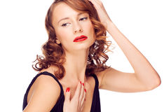 Woman with red lipstick royalty free stock images