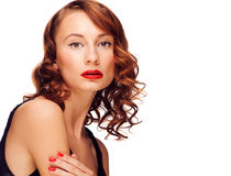 Woman with red lipstick stock photos