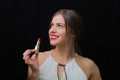 Woman with a red lipstick Royalty Free Stock Photography