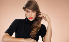Woman With Red Lipstick Stock Images