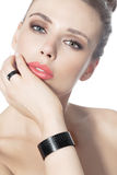 Woman With Red Lipstick And Modern Jewelry Royalty Free Stock Images