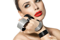 Woman With Red Lipstick And Modern Jewelry Stock Photography