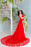 Woman in red long dress Stock Photo