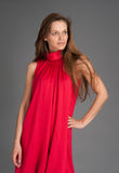 Woman in red looking away Royalty Free Stock Photos