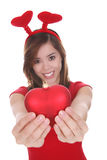 Woman with red love heart Royalty Free Stock Image