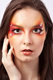 Woman with red makeup close up Royalty Free Stock Photos