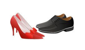 Woman in red and man in black. A vector illustration of male and female shoes Stock Photography