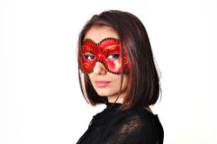 Woman in red mask. On carnaval royalty free stock image