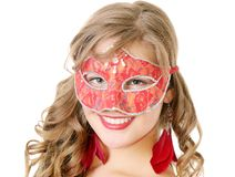Woman in red mask Stock Images