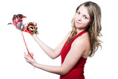 Woman with red mask on carnaval Royalty Free Stock Photography