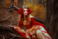 Woman in red medieval dress stock image