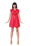Woman in red mini dress Royalty Free Stock Images