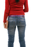 Woman in red mitten keeping books Stock Photo