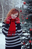 Woman in red mittens Stock Image