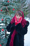 Woman in red mittens Royalty Free Stock Photography