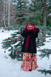 Woman in red mittens Royalty Free Stock Images
