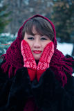 Woman in red mittens Royalty Free Stock Photos