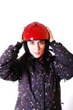 Woman in red motorcycle helmet. Stock Photo