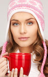 Woman with red mug Royalty Free Stock Photo