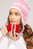 Woman with red mug Stock Photo