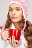 Woman with red mug Royalty Free Stock Photos