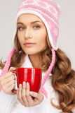 Woman with red mug Stock Photography