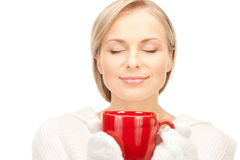 Woman with red mug Royalty Free Stock Images