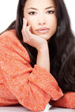 Woman in a red orange wool sweater Royalty Free Stock Photos