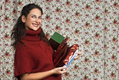 Woman in red over floral background. Woman in red over colorful floral background Stock Images
